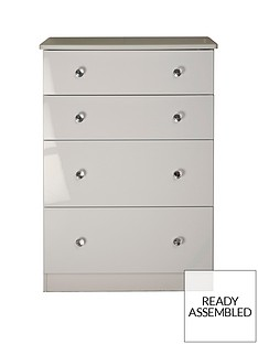 SWIFT Lumiere Ready Assembled High Gloss 4 Drawer Deep Chest