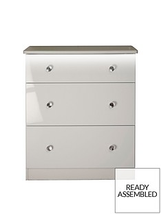 SWIFT Lumiere Ready Assembled High Gloss 3 Drawer Deep Chest with Lights