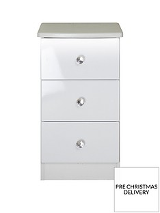SWIFT LumiereReady Assembled 3 Drawer Bedside Chest with Lights
