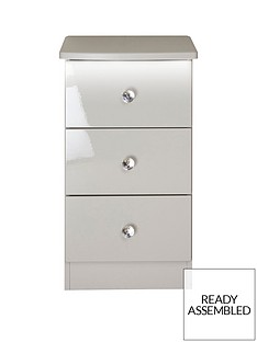 SWIFT Lumiere Ready Assembled 3 Drawer Bedside Chest with Lights