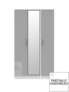 SWIFT Montreal 3 Door Gloss Tall Mirrored Wardrobe