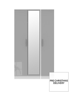 SWIFT Montreal 3 Door Gloss Tall Mirrored Wardrobe