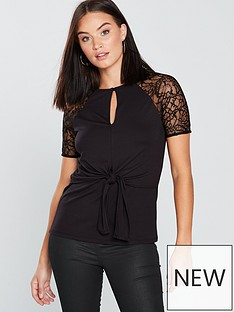 v-by-very-lace-knotted-top-black