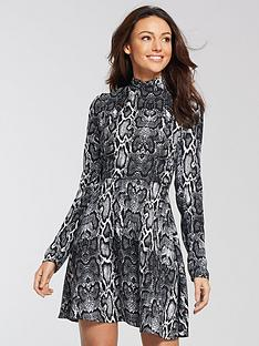 michelle-keegan-long-sleeve-skater-dress-snake-print