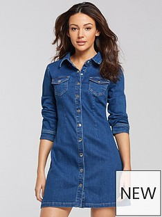 3f73be56d99 Michelle Keegan Button Through Denim Dress - Blue