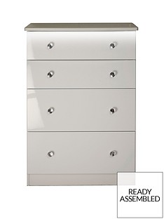 SWIFT Lumiere Ready Assembled High Gloss 4 Drawer Deep Chest with Lights