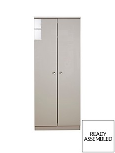 SWIFT Lumiere Ready Assembled High Gloss 2 Door Wardrobe with Lights