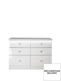 SWIFT Lumiere Ready Assembled High gloss 6 Drawer Midi Chest with Lights