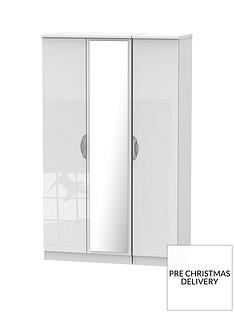 SWIFT Belgravia 3 Door High Gloss Mirrored Wardrobe