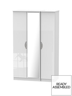 SWIFT Belgravia 3 Door High Gloss Mirrored Wardrobe
