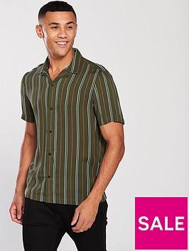 river-island-green-stripe-print-short-sleeve-revere-shirt