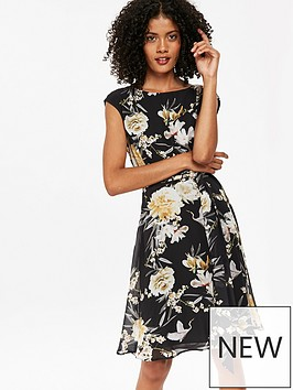 wallis-floral-print-fit-and-flare-dress-black