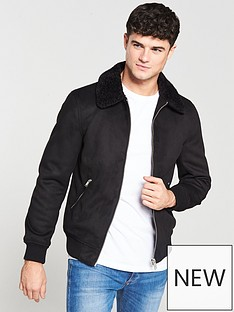 river-island-black-faux-suede-borg-collar-jacket