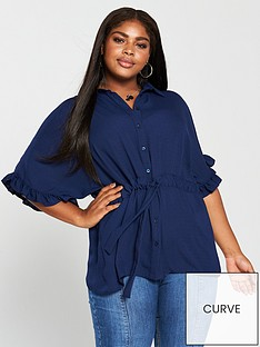 v-by-very-curve-ruffle-sleeve-channel-waist-blouse-teal