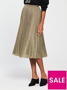whistles-sparkle-pleated-skirt-gold