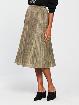 whistles-sparkle-pleated-skirt-gold