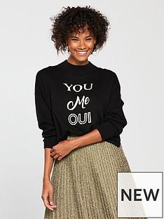 whistles-you-me-oui-logo-sweater-black