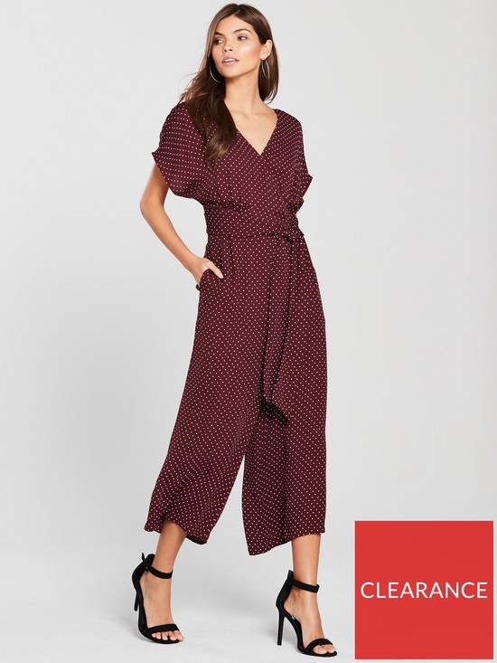 843835668596 WHISTLES Margot Spot Print Wrap Back Jumpsuit