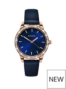 sekonda-sekonda-blue-and-rose-gold-crystal-set-dial-blue-leather-strap-ladies-watch