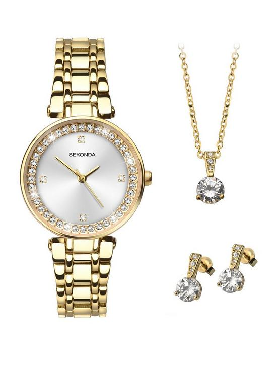 35c7206ce5436 Sekonda Sekonda White Crystal Set Dial Gold Stainless Steel Bracelet Ladies  Watch with Matching Earrings and Necklace Gift Set