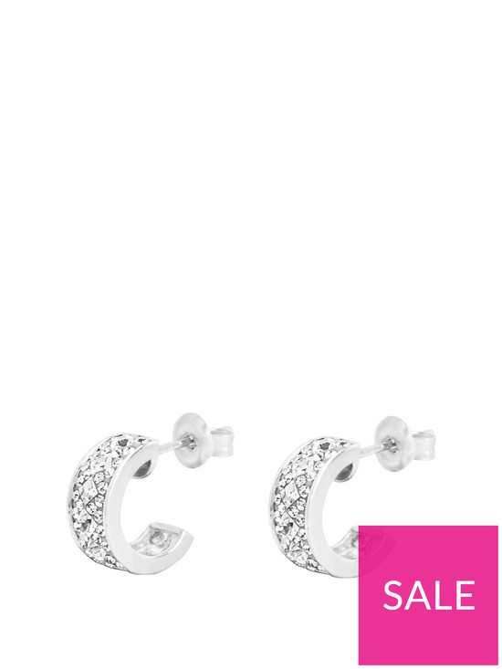 534edf4fe The Love Silver Collection Sterling Silver & Crystal Half Hoop Earrings