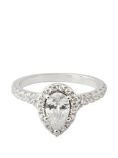 the-love-silver-collection-sterling-silver-cubic-zirconia-teardrop-halo-ring