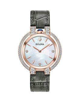 bulova-bulova-rubaiyat-mother-of-pearl-rose-gold-and-diamond-set-dial-grey-leather-strap-ladies-watch