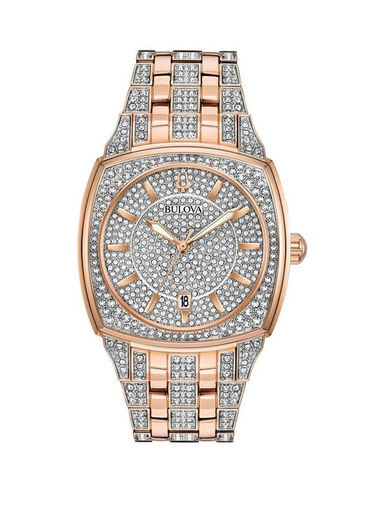 b2e271a33 Bulova Bulova SWAROVSKI Crystal Set and Rose Gold Detail Dial Rose Gold and  Crystal Set Stainless Steel Bracelet Ladies Watch