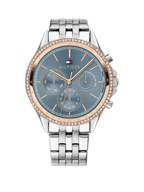 582b4f5e7240e 1781976 Blue and Rose Gold Detail Dial Stainless Steel Bracelet Ladies Watch