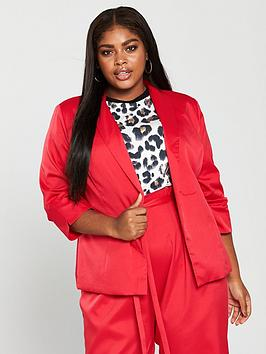 Girls On Film Curve Co-Ord Tailored Blazer - Red