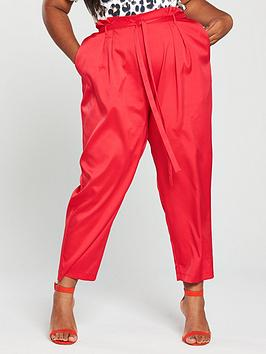 Girls On Film Curve Co-Ord Tapered Trouser - Red