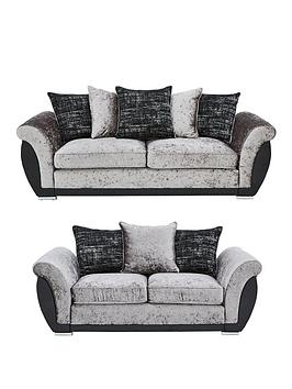 Alexa Fabric And Faux Leather 3 Seater + 2 Seater Scatter Back Sofa Set (Buy And Save!)