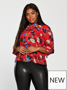 girls-on-film-curve-girls-on-film-curve-printed-fluted-sleeve-blouse