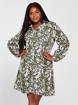 Girls On Film Curve Printed Shirt Dress
