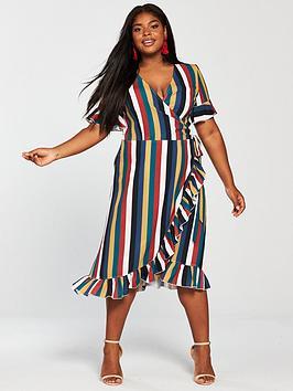 Girls On Film Curve Midi Wrap Dress - Stripe