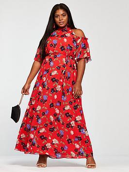 Girls On Film Curve Cold Shoulder Printed Maxi Dress - Red