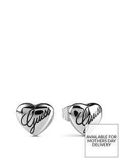 guess-silver-logo-heart-stud-earrings