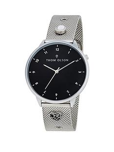 thom-olson-thom-olson-night-dream-black-dial-stainless-steel-mesh-bracelet-with-crystal-charms-ladies-watch