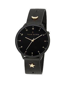 thom-olson-night-dream-black-dial-black-stainless-steel-mesh-strap-with-gold-charms-ladies-watch