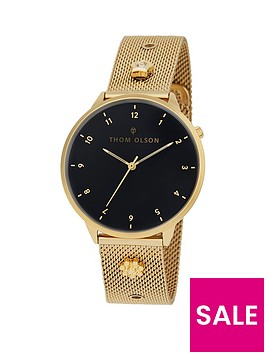 thom-olson-night-dream-black-dial-gold-stainless-steel-mesh-strap-with-gold-charms-ladies-watch