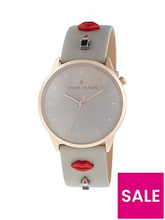 thom-olson-day-dream-grey-and-rose-gold-dial-grey-leather-strap-with-lipstick-kisses-charms-ladies-watch