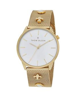 thom-olson-gypset-white-dial-gold-stainless-steel-mesh-strap-with-gold-and-mother-of-pearl-charms-ladies-watch