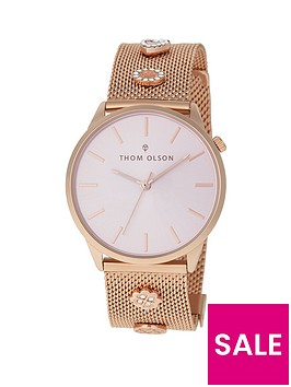 thom-olson-gypset-pink-sunray-dial-rose-gold-stainless-steel-mesh-strap-with-rhinestone-charms-ladies-watch