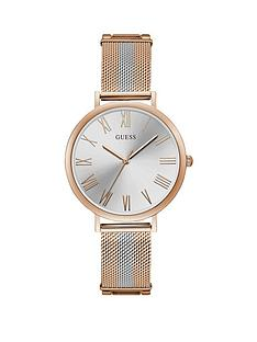 guess-guess-silver-and-rose-detail-dial-two-tone-stainless-steel-mesh-strap-ladies-watch