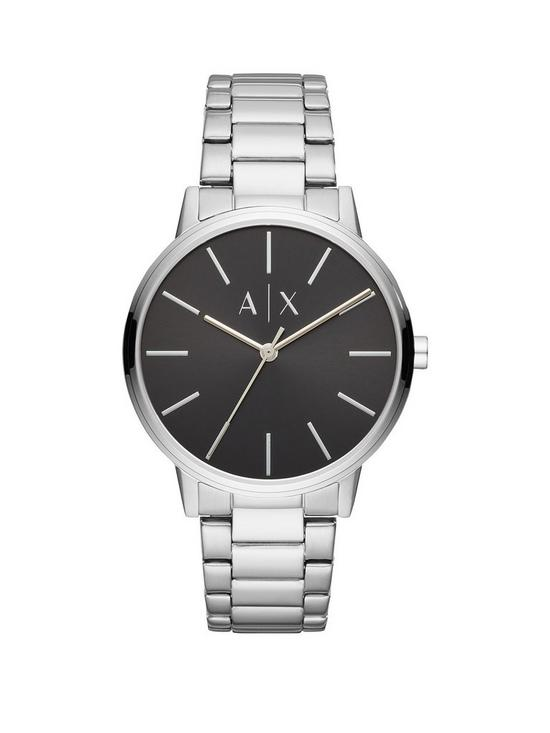 2fce711e914 Armani Exchange Armani Exchange Black Dial Stainless Steel Bracelet Mens  Watch