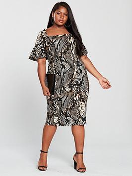 v by very curve square neck scuba pencil dress - printed
