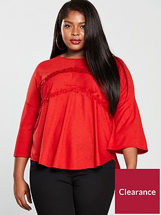 v-by-very-curve-lace-trim-peplum-top-red
