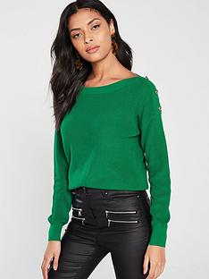v-by-very-button-boat-neck-jumper-green