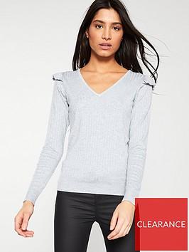 v-by-very-ribbed-frill-shoulder-v-neck-jumper-grey-marl