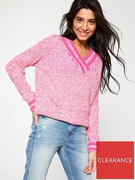 v-by-very-v-neck-tipped-rib-jumper-pink
